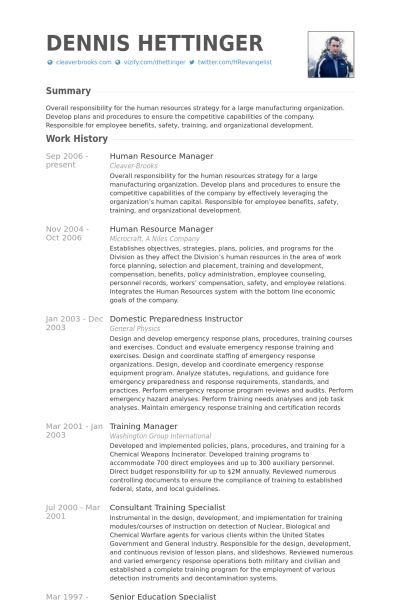 Human Resource Manager CV Beispiel - VisualCV Lebenslauf Muster ...