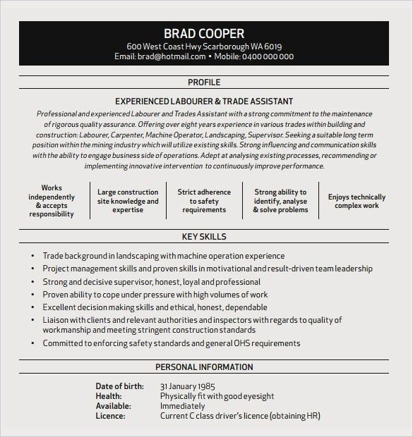 10+ Construction Resume Templates – Free Samples , Examples