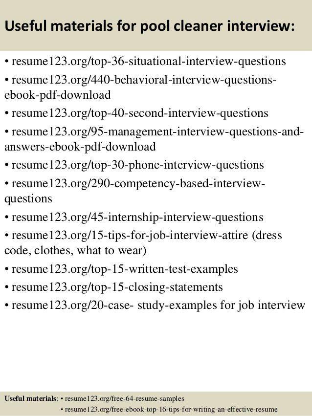 Top 8 pool cleaner resume samples