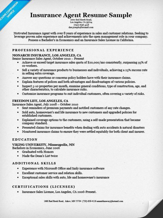 Insurance Agent Resume Sample | Resume Companion