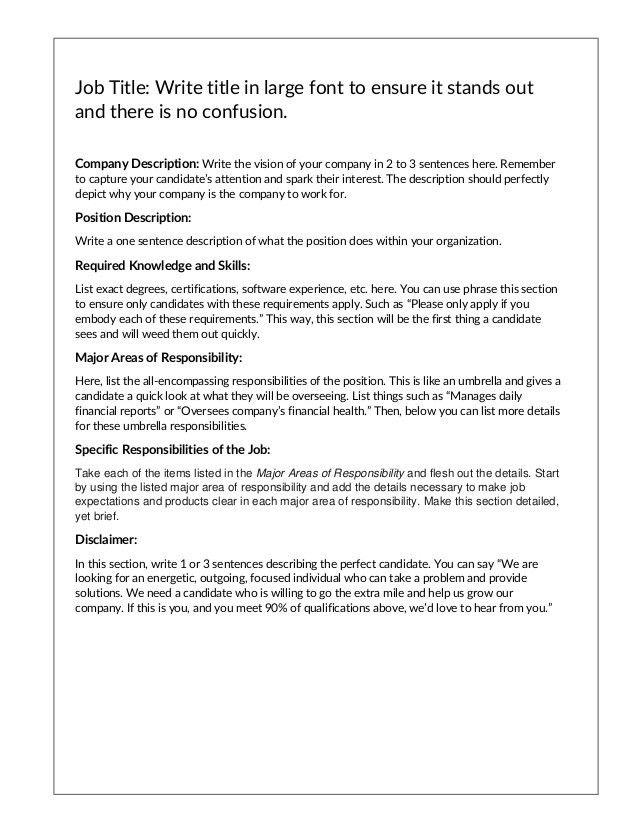 Job Description Template