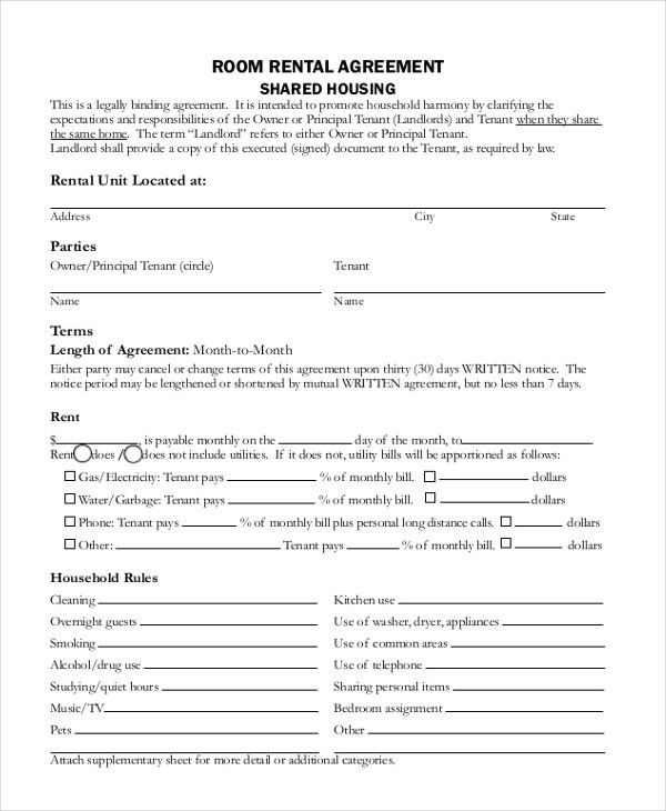 Sample Rental Agreements. Rental Agreement Template – Microsoft ...