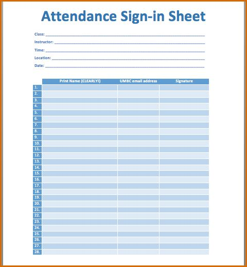 4+ printable attendance sheet | Authorizationletters.org