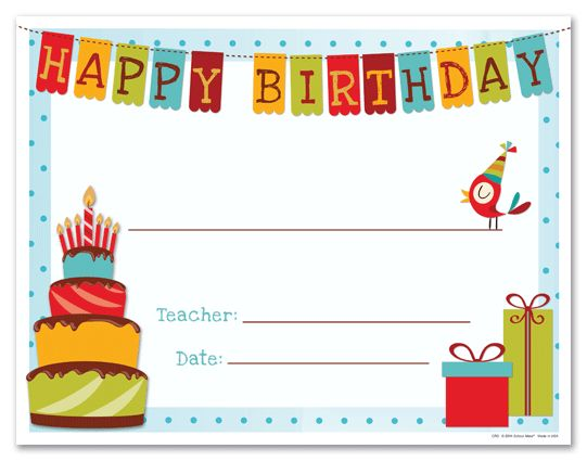 Happy Birthday Gift Certificate Template | Primary | Pinterest ...