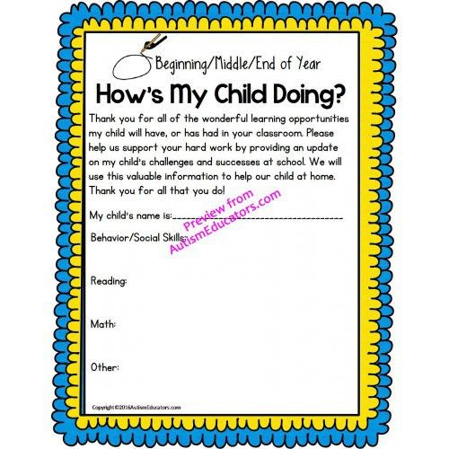 Autism Parent Resource STUDENT PROGRESS Parent Teacher ...