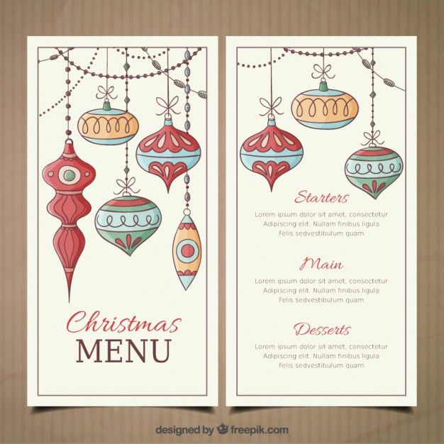 Christmas menu template with hand drawn baubles Vector | Premium ...
