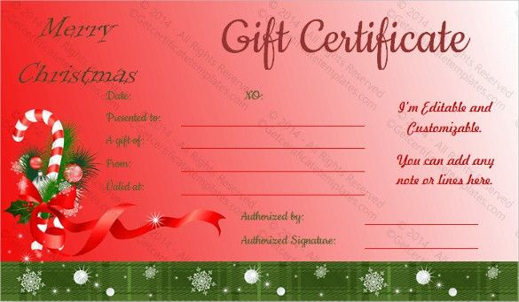 Christmas Gift Card Templates Free Christmas Voucher Templates – Free Holiday Gift Certificate Templates