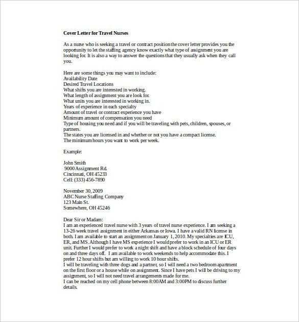 Nursing Cover Letter Template – 7+ Free Word, PDF Documents ...
