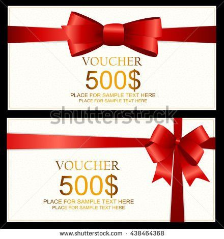 Gift Voucher Template Bow Vector Illustration Stock Vector ...