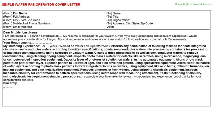 Wafer Fab Operator Cover Letter