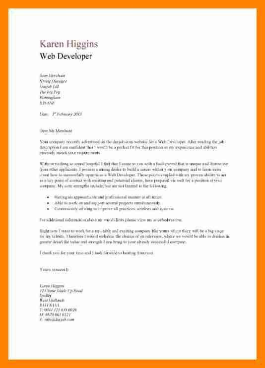 6+ developer cover letter | resume sections