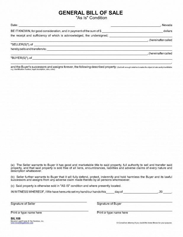 "GENERAL BILL OF SALE (""as is"" condition) - Nevada Legal Forms ..."