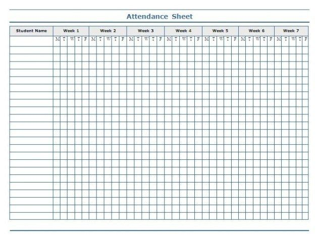 Weekly Attendance Sheet Template for Students : Helloalive