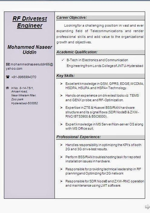 Download Rf Drive Test Engineer Sample Resume ...