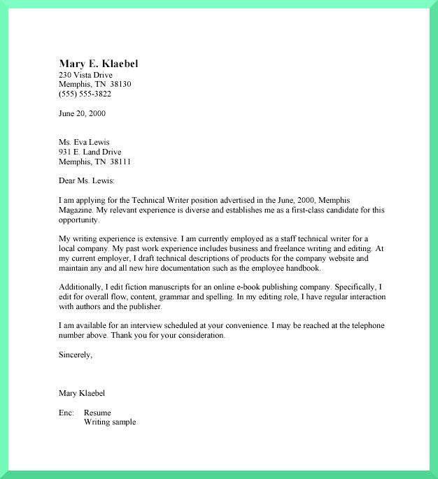 Cover Letter Format with Writing A Cover Letter - My Document Blog
