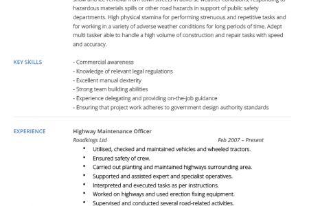 Highway Maintenance Resume Sample - Reentrycorps