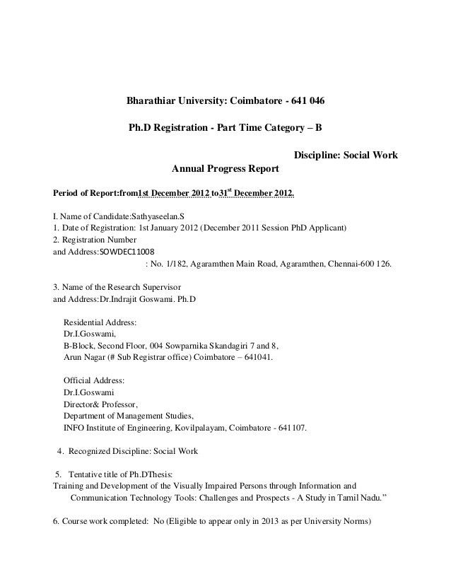 PhD Annual Report first page & detailed table of contents