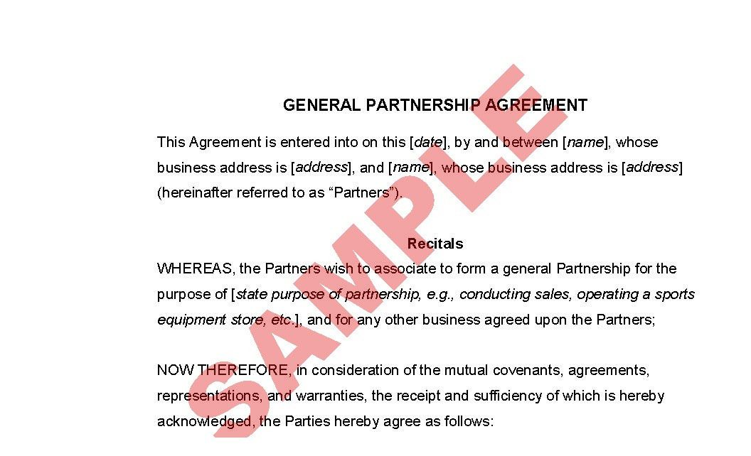 General Partnership Agreement - Business Forms - Legal & Agreement ...