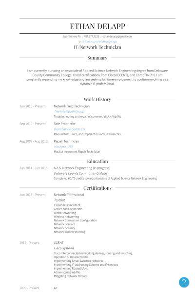 Field Technician Resume samples - VisualCV resume samples database