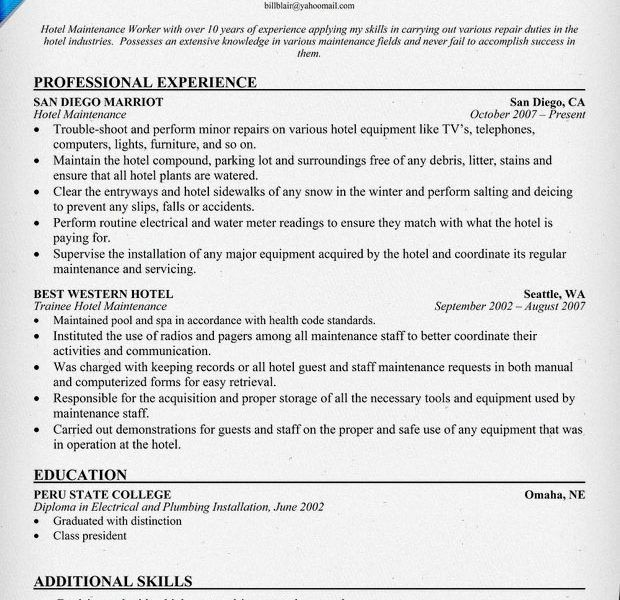 Building Maintenance Job Resume. construction worker resume sample ...