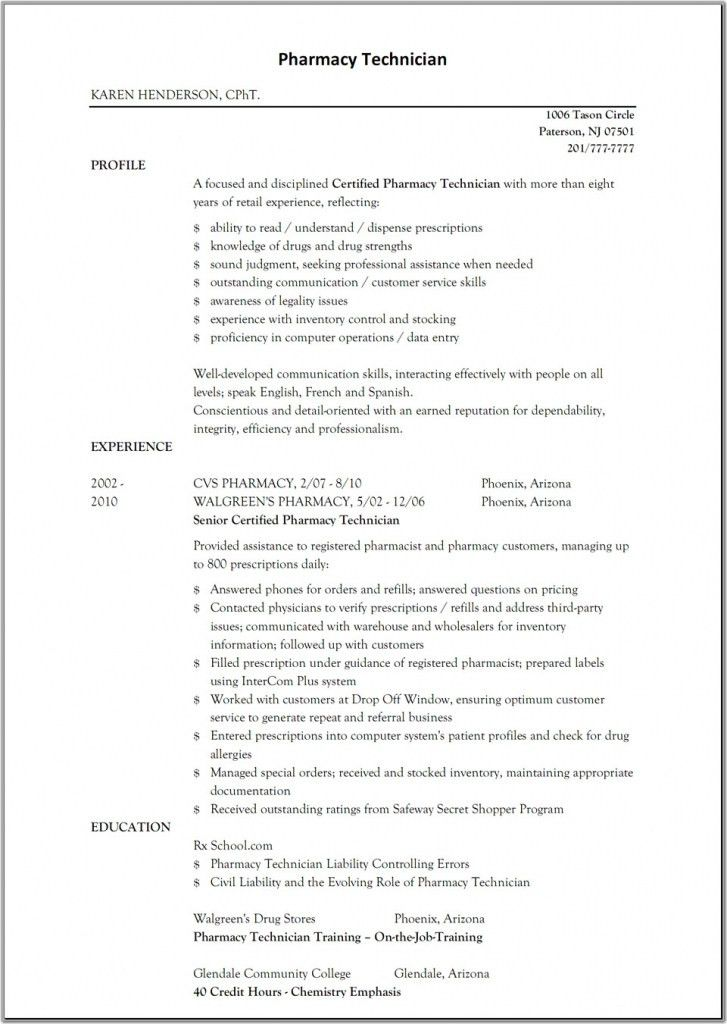 Pharmacist Resume Samples | Job Sample Resumes