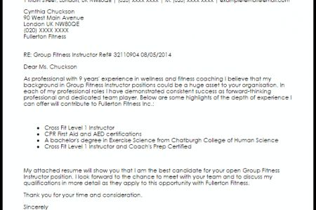 Fitness Instructor Cover Letter Best Fitness And Personal Trainer