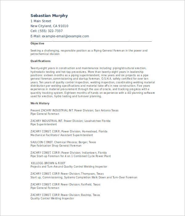 Pipefitter Resume Templates    Free & Premium Templates   Creative ...