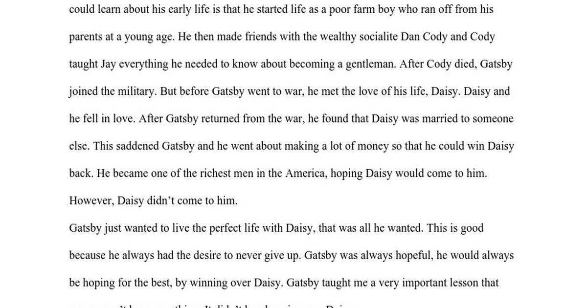 Gatsby Eulogy from Nick Carraway - Google Docs