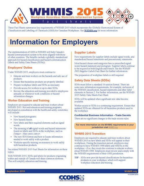 CCOHS: Products & Services: WHMIS 2015 Fact Sheets