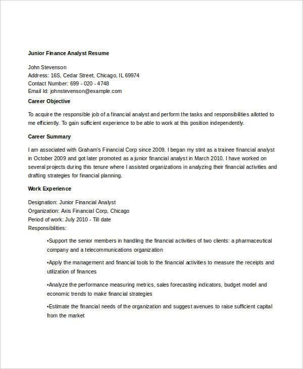 Basic Finance Resume - 44+ Free Word, PDF Documents Download ...