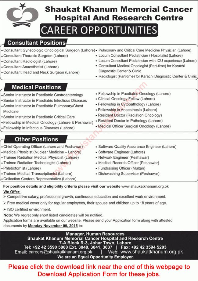 Shaukat Khanum Hospital Jobs November 2015 SKMCH&RC Application ...