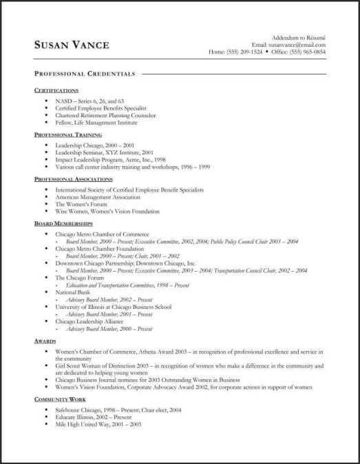 Samples Of Resume Addendum Documents