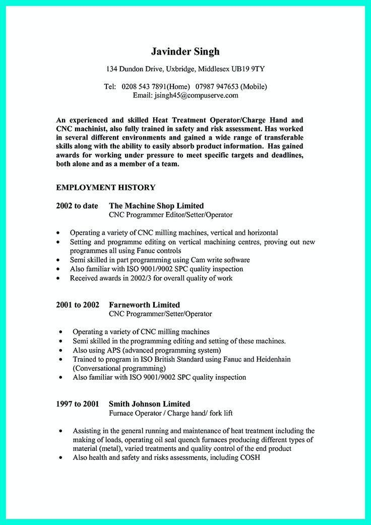 Resume Template Cnc Machinist - Contegri.com