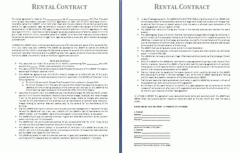 5+ Free Rental Agreement Template | Printable Receipt