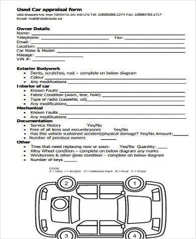 Vehicle Appraisal Form. Car Dealer Suppplies I Used Vehicle ...