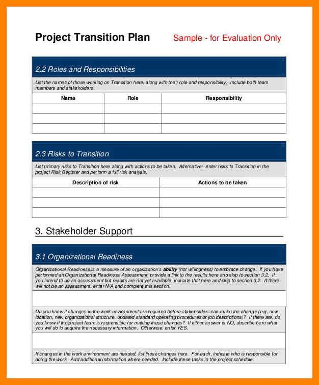 7+ project transition plan template | day care receipts