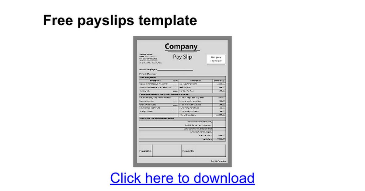 Free payslips template - Google Docs