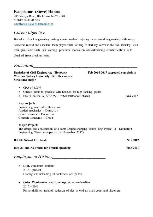 2017 Undergraduate Resume