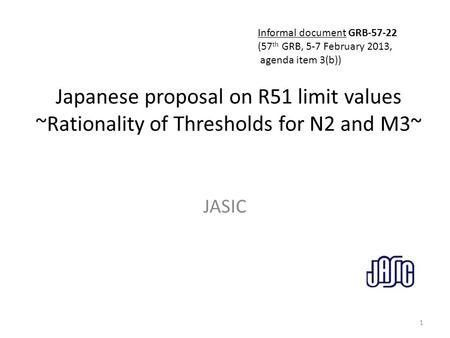 Japanese proposal on R51 limit values - ppt video online download