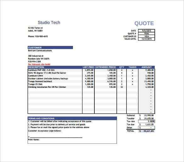 Price Quotation Template - 15+ Free Word, Excel, PDF Documents ...