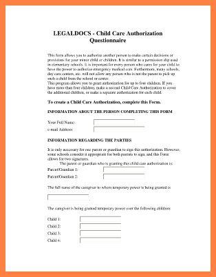 5+ child care authorization form | Invoice Example 2017