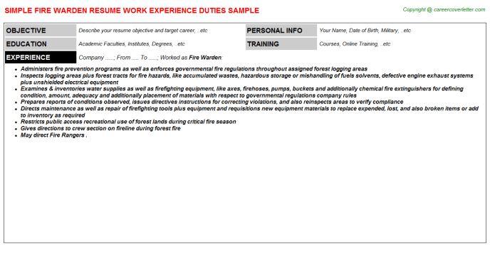 Fire Warden Resume Sample
