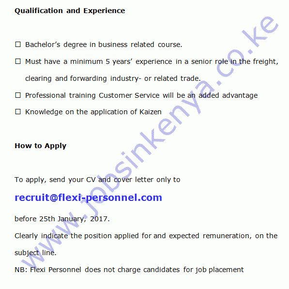 Customer Service Manager Vacancy in Nairobi | Jobs in Kenya .co.ke ...