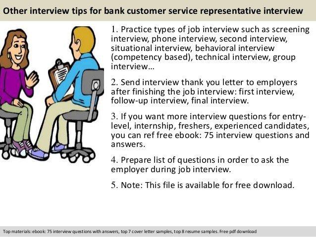 Bank customer service representative interview questions