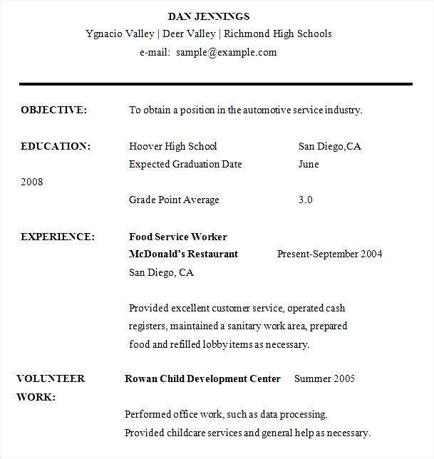 Sample High School Student Resume Word - Free Samples , Examples ...