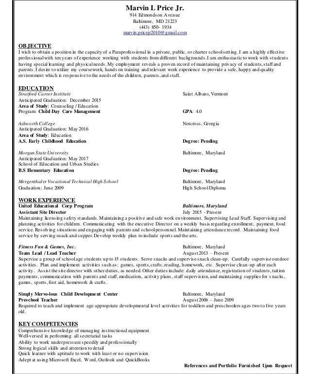 Unthinkable Paraprofessional Resume Surprising - Resume CV Cover ...