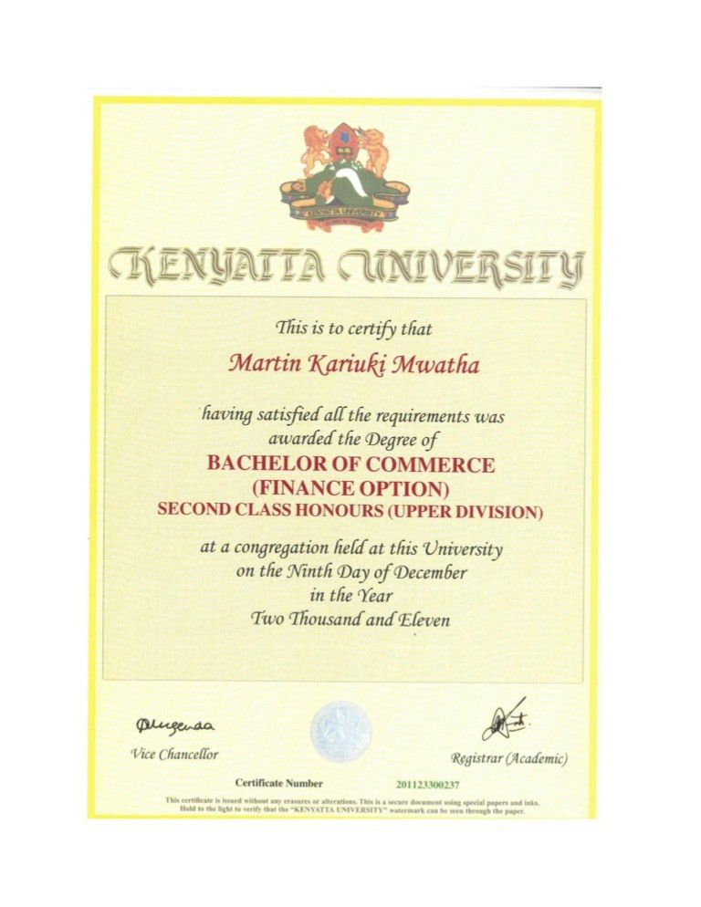 Kenyatta University- Certificate