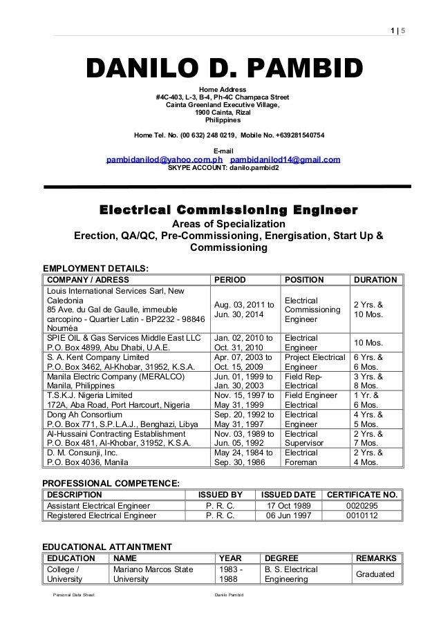 PDS Danilo D. Pambid Electrical Commissioning Engineer