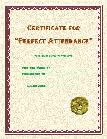 Perfect Attendance Certificate | Free Microsoft Word Templates ...