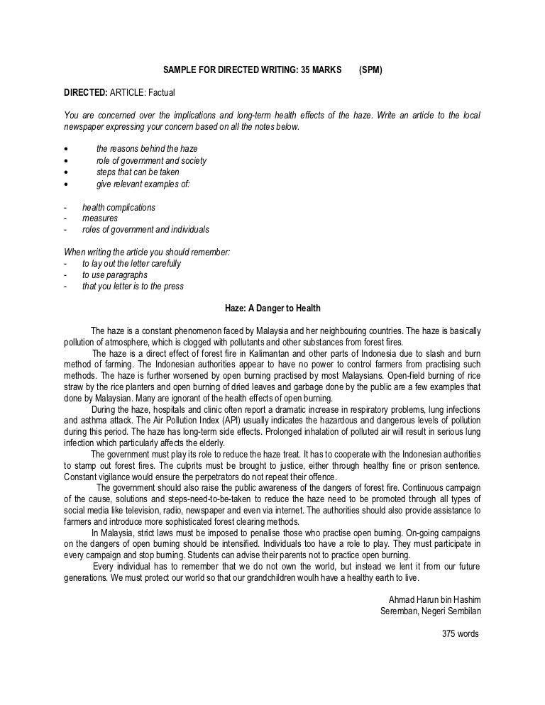 Sample for spm directed writing